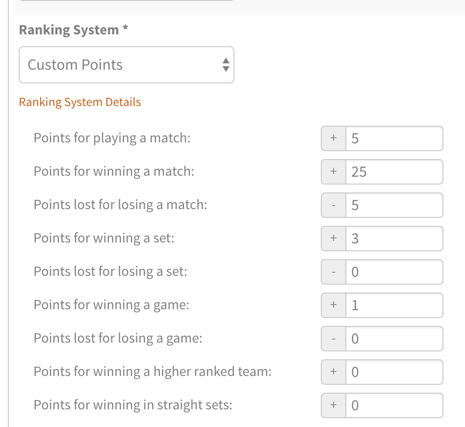 New Tennis Ladder Ranking System